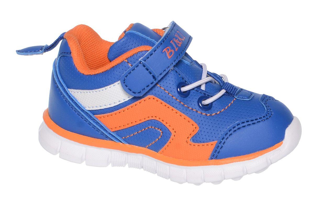 Кроссовки для мальчика BiKi, цвет: синий, оранжевый, белый. A-B82-54-A. Размер 21A-B82-54-AКроссовки от фирмы BiKi выполнены из искусственной кожи с контрастной прострочкой. На заднике предусмотрена текстильная петелька для удобства обувания. Застежка-липучка и эластичная шнуровка обеспечивают надежную фиксацию обуви на ноге ребенка. Подкладка выполнена из текстиля и натуральной кожи, что предотвращает натирание и гарантирует уют. Подошва с рифлением обеспечивает идеальное сцепление с любыми поверхностями. Стильные и удобные кроссовки - незаменимая вещь в гардеробе каждого школьника.