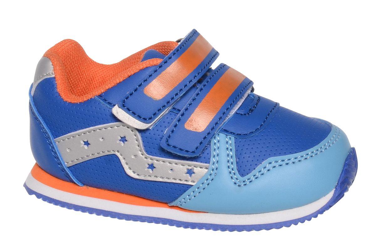 Кроссовки для мальчика BiKi, цвет: синий, оранжевый. A-B85-96-D. Размер 23A-B85-96-DКроссовки от фирмы BiKi выполнены из искусственной кожи с перфорацией. По бокам модель оформлена декоративными элементами из кожи с перфорированными звездами. Застежки-липучки обеспечивают надежную фиксацию обуви на ноге ребенка. Подкладка выполнена из текстиля и натуральной кожи, что предотвращает натирание и гарантирует уют. Подошва с рифлением обеспечивает идеальное сцепление с любыми поверхностями. Стильные и удобные кроссовки - незаменимая вещь в гардеробе каждого школьника.