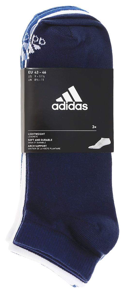 Носки adidas Per No-Sh T, цвет: темно-синий, белый, голубой, 3 пары. S99895. Размер 39/42S99895Носки adidas Per No-Sh T изготовлены из высококачественного эластичного хлопка с добавлением полиамида. Укороченные носки с поддержкой стопы имеют эластичную резинку, которая надежно фиксирует носки на ноге. В комплект входят 3 пары носков разных цветов.