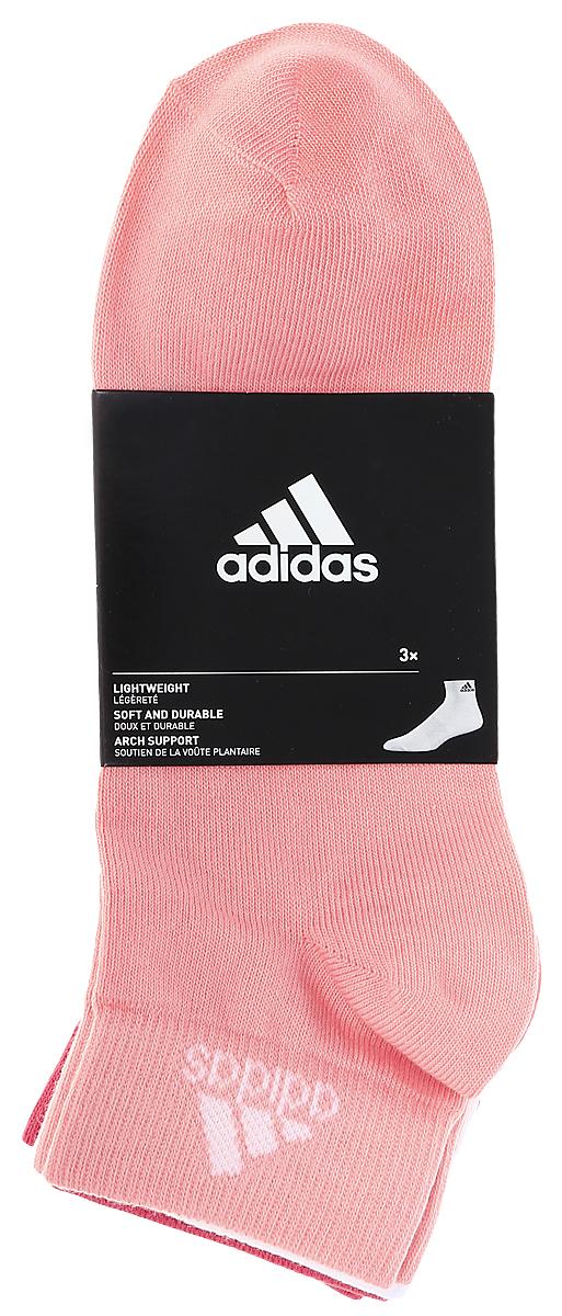 Носки женские adidas Per Ankle T, цвет: светло-розовый, розовый, белый, 3 пары. S99887. Размер 39/42S99887Женские носки adidas Per Ankle T изготовлены из высококачественного эластичного хлопка с добавлением полиамида и полиэстера. Укороченные носки с поддержкой стопы имеют эластичную резинку, которая надежно фиксирует носки на ноге. В комплект входят 3 пары носков разных цветов.