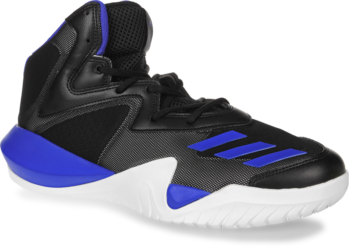 Кроссовки для баскетбола мужские adidas Crazy Team 2017, цвет: черный, синий. BB8253. Размер 9,5 (42,5)BB8253Мужские кроссовки для баскетбола adidas Crazy Team 2017 выполнены из сетчатого текстиля и искусственной кожи. Модель оформлена фирменными накладками из полимера. Шнурки надежно зафиксируют модель на ноге. Внутренняя поверхность из сетчатого текстиля комфортна при движении. Стелька выполнена из легкого ЭВА-материала с поверхностью из текстиля. Подошва изготовлена из высококачественной резины и дополнена рельефным рисунком. Задняячасть подошвы оснащена вставкой из Adiprene, которая смягчает ударную нагрузку на стопу и обеспечивает дополнительную амортизацию.