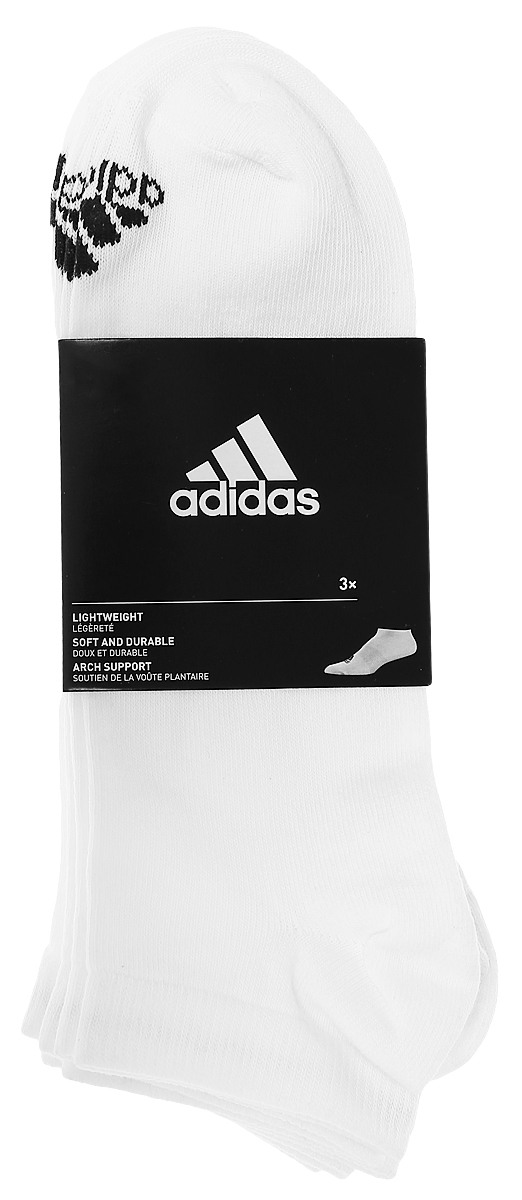 Носки adidas Per No-Sh T, цвет: белый, 3 пары. AA2311. Размер 35/38AA2311Носки adidas Per No-Sh T изготовлены из высококачественного эластичного хлопка с добавлением полиэстера. Укороченныеноски с поддержкой стопы имеют эластичную резинку, которая надежно фиксирует носки на ноге. В комплект входят 3 пары носков, оформленных логотипом бренда adidas.