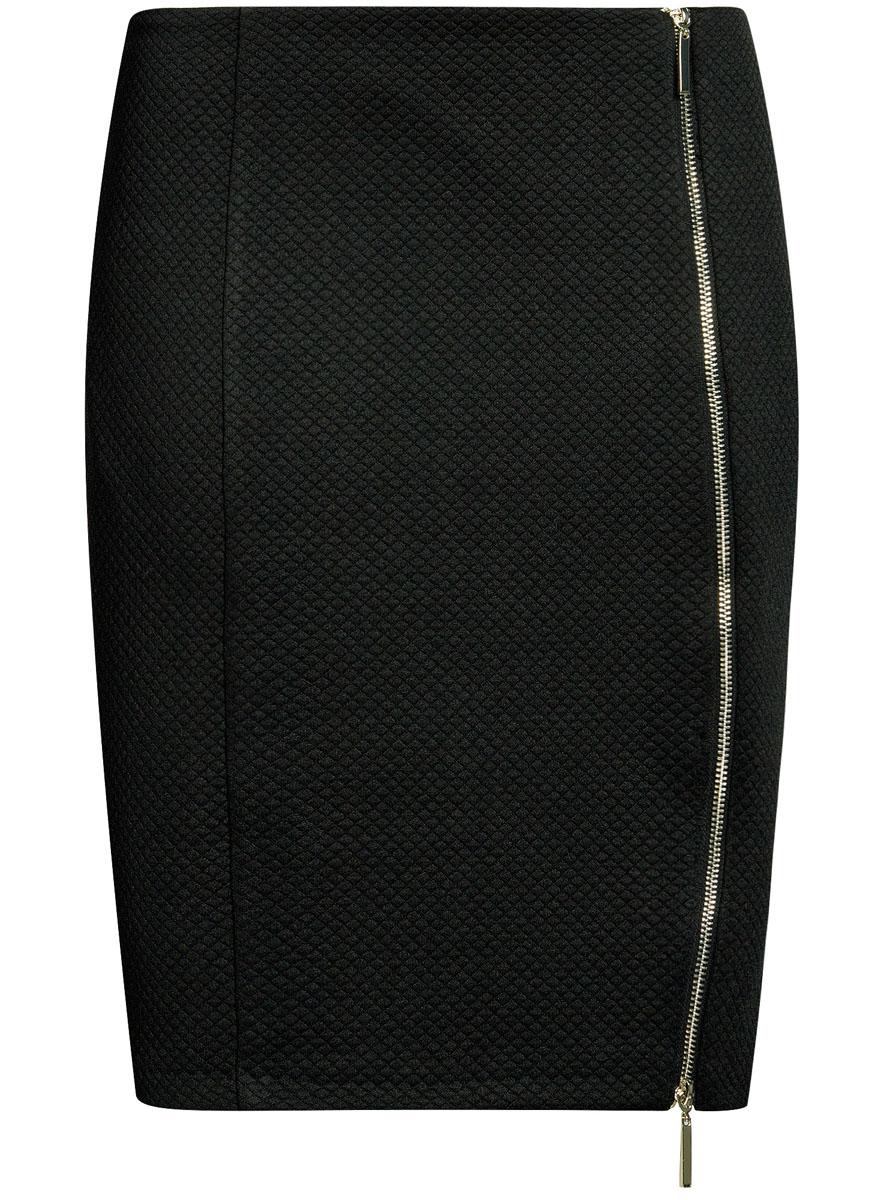 Юбка oodji Ultra, цвет: черный. 14101080-1/42408/2900N. Размер M (46)14101080-1/42408/2900NСтильная юбка-карандаш выполнена из фактурного материала. Спереди модель дополнена двусторонней застежкой-молнией.