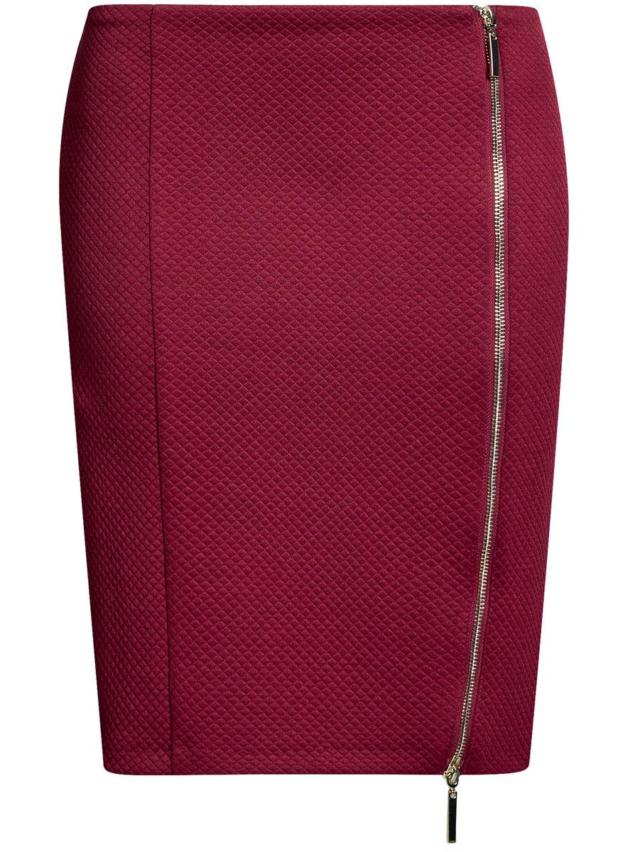 Юбка oodji Ultra, цвет: бордовый. 14101080-1/42408/4900N. Размер L (48)14101080-1/42408/4900NСтильная юбка-карандаш выполнена из фактурного материала. Спереди модель дополнена двусторонней застежкой-молнией.