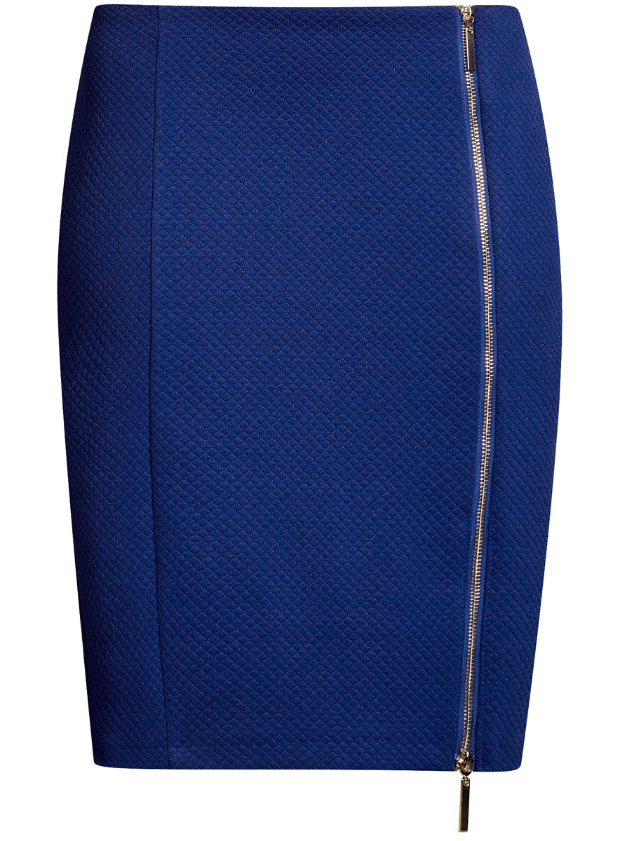 Юбка oodji Ultra, цвет: синий. 14101080-1/42408/7501N. Размер M (46)14101080-1/42408/7501NСтильная юбка-карандаш выполнена из фактурного материала. Спереди модель дополнена двусторонней застежкой-молнией.