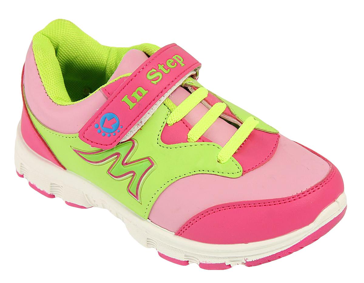 Кроссовки для девочки In Step, цвет: розовый, салатовый. B002. Размер 33B002Детские кроссовки от In Step выполнены из искусственной кожи. Ремешок с застежкой-липучкой и эластичная шнуровка гарантируют надежную фиксацию обуви на ноге. Внутренняя поверхность и стелька из текстиля комфортны при движении. Рельефная подошва изготовлена из полимера.