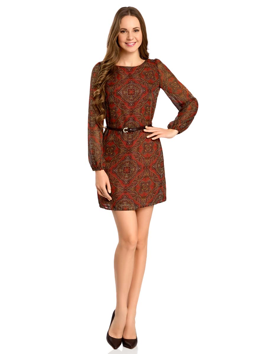 Платье oodji Ultra, цвет: красный, бежевый. 11900150-5/13632/4533E. Размер 42 (48-170)11900150-5/13632/4533EСтильное платье oodji Ultra выполнено из 100% полиэстера. Модель с круглым вырезом горловины и длинными рукавами оформлена интересным принтом. В комплект входит ремень из искусственной кожи с металлической пряжкой.