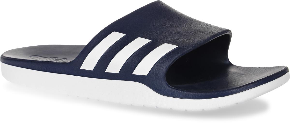 Шлепанцы мужские adidas Performance Aqualette Cf, цвет: темно-синий, белый. AQ2163. Размер 7 (39)AQ2163Шлепанцы adidas Aqualette Cf выполнены из полимера и оформлены фирменным принтом. Подошва изготовлена из высококачественного легкого ЭВА-материала. Поверхность подошвы дополнена рельефным рисунком.