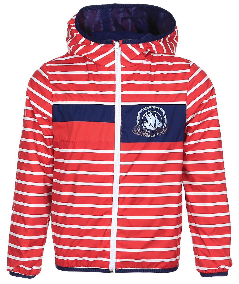 Куртка для мальчика Boom!, цвет: красный. 70029_BOB_вар.3. Размер 80, 1,5-2 года70029_BOB_вар.3Куртка для мальчика Boom! изготовлена из водонепроницаемого полиэстера. Куртка с капюшоном застегивается на пластиковую застежку-молнию. Края капюшона, рукавов и низа куртки отделаны тонкой эластичной резинкой. В боковых швах предусмотрены два прорезных кармана. Модель оформлена оригинальным принтом на груди и дополнена светоотражающими элементами.