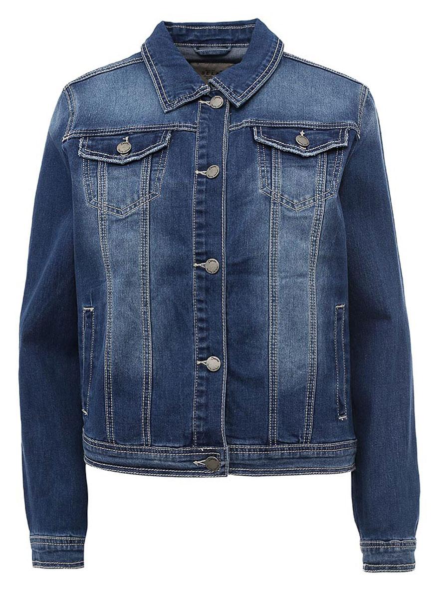 Куртка джинсовая женская Sela, цвет: синий джинс. JTj-136/067-7161. Размер 42JTj-136/067-7161Классическая джинсовая куртка Sela, выполненная из качественного хлопкового материала с эффектом потертостей, станет отличным дополнением гардероба каждой модницы. Модель прямого кроя с отложным воротничком застегивается на пуговицы и дополнена двумя прорезными и двумя накладными карманами с клапанами на пуговицах. Манжеты длинных рукавов также дополнены пуговицами.Куртка подойдет для прогулок и дружеских встреч и будет отлично сочетаться с джинсами и брюками, а также гармонично смотреться с юбками.