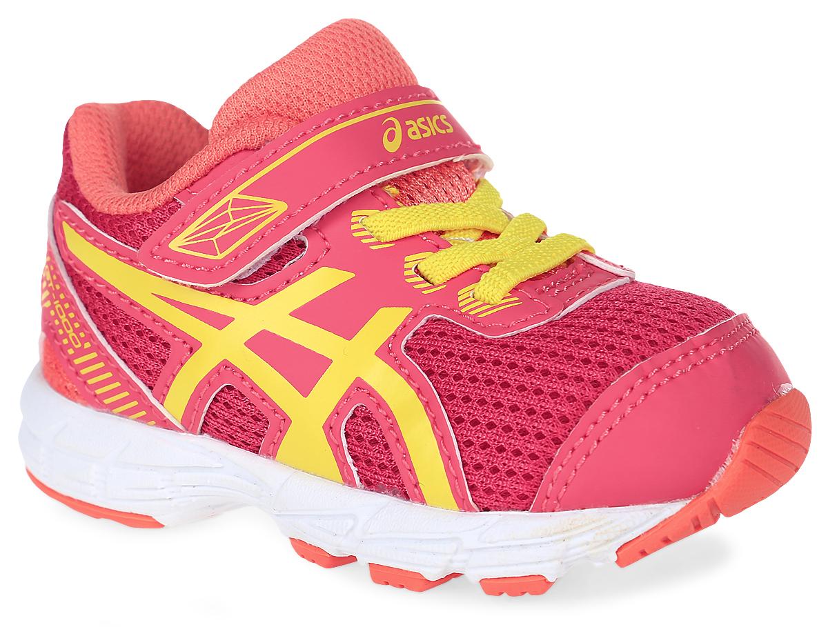 Кроссовки детские Asics Gt-1000 5 Ts, цвет: розовый, желтый. C621N-2003. Размер K9 (24,5)C621N-2003Кроссовки Asics Gt-1000 5 Ts, выполненные из сетчатого текстиля и искусственной кожи, оформлены фирменным принтом. На ноге модель фиксируется с помощью шнурков и ремешка с застежкой-липучкой, который оформлен надписью с названием бренда. Внутренняя поверхность выполнена из сетчатого текстиля, комфортного при движении. Стелька выполнена из легкого ЭВА-материала с поверхностью из текстиля. Подошва изготовлена из легкого ЭВА-материала и оснащена вставками из резины. Поверхность подошвы дополнена рельефным рисунком.