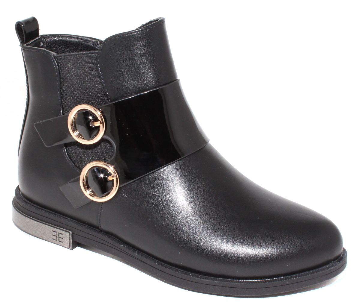 Ботинки для девочки Капитошка, цвет: черный. F5991. Размер 36F5991Стильные детские ботинки Капитошка для девочки выполнены из искусственной кожи. Изделие в области подъема украшено декоративными ремешками с металлической фурнитурой. Подкладка и стелька, выполненные из текстиля, обеспечат детским ножкам комфорт и уют. Удобные ботинки - необходимая вещь в гардеробе каждого ребенка.
