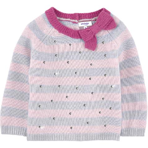 Джемпер для девочки PlayToday Baby, цвет: серый, розовый. 368056. Размер 80368056Уютный джемпер для девочки выполнен из мягкого трикотажа.Модель оформлена объемным бантиком на воротнике и россыпью серебристых страз. Воротник, рукава и низ изделия выполнены из вязаной резинки. Джемпер застегивается на пуговицы, расположенные на спинке у воротника изделия, что облегчает переодевание ребенка.