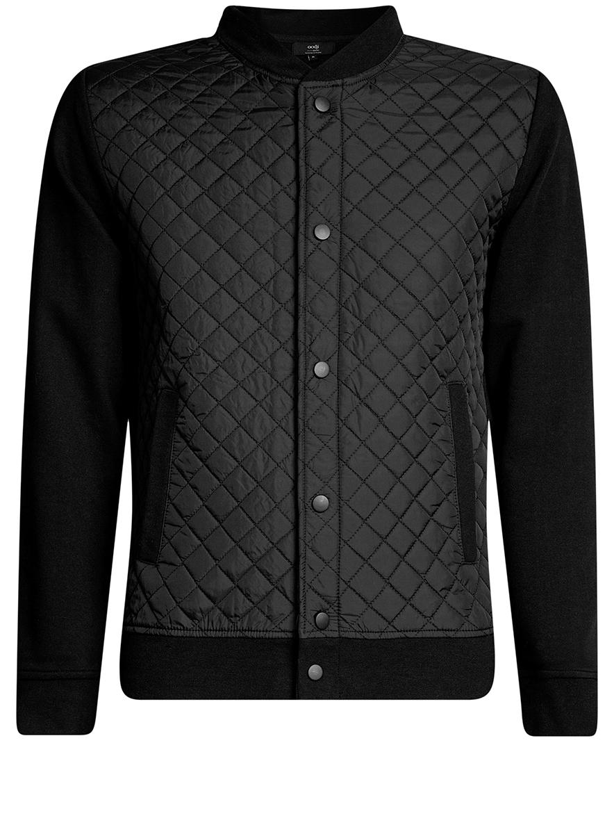 Куртка мужская oodji Basic, цвет: черный. 5B911020M/44112N/2900N. Размер XL (56)5B911020M/44112N/2900NМужская куртка oodji Basic выполнена из высококачественного материала. Модель застегивается на застежку-молнию и дополнительно ветрозащитным клапаном на кнопки. Спереди расположено два прорезных кармана.