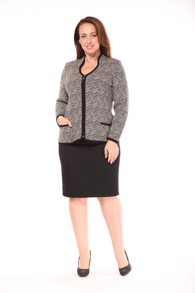 цена  Жакет женский Milana Style, цвет: черный, белый. 1415. Размер 6XL (60)  онлайн в 2017 году
