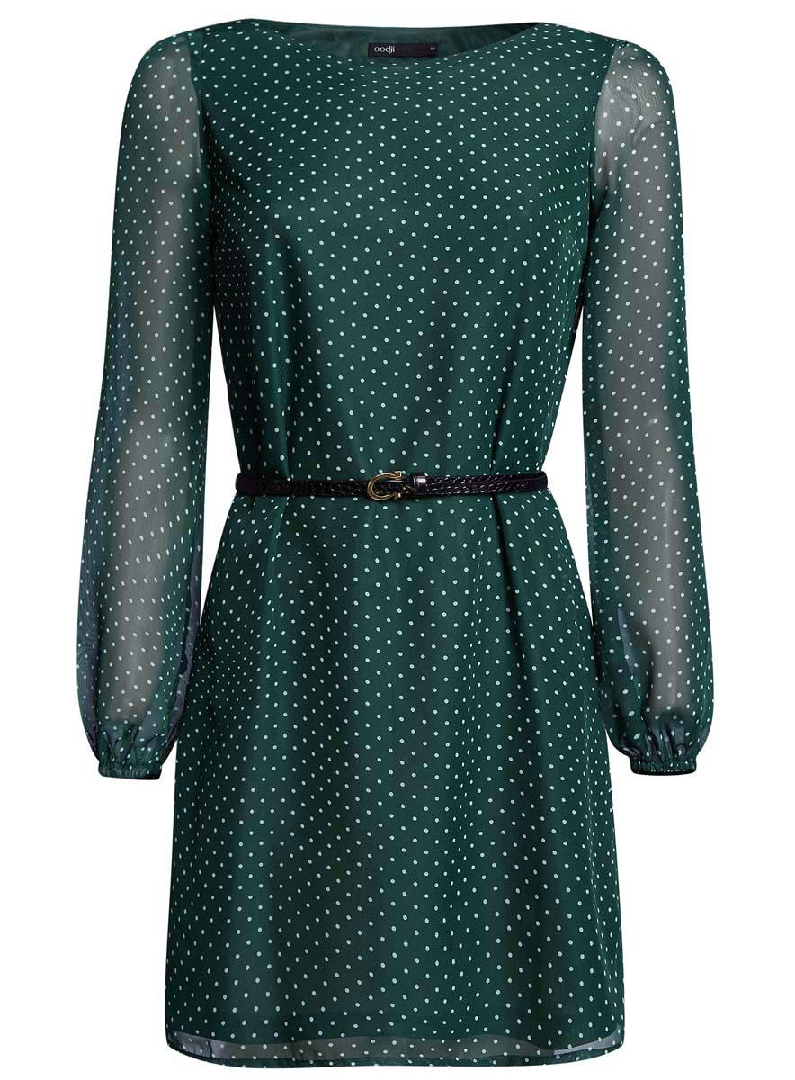 Платье oodji Ultra, цвет: темно-зеленый, белый. 11900150-5/13632/6912D. Размер 38 (44-170)11900150-5/13632/6912DСтильное платье oodji Ultra выполнено из 100% полиэстера. Модель с круглым вырезом горловины и длинными рукавами оформлена интересным принтом. В комплект входит ремень из искусственной кожи с металлической пряжкой.