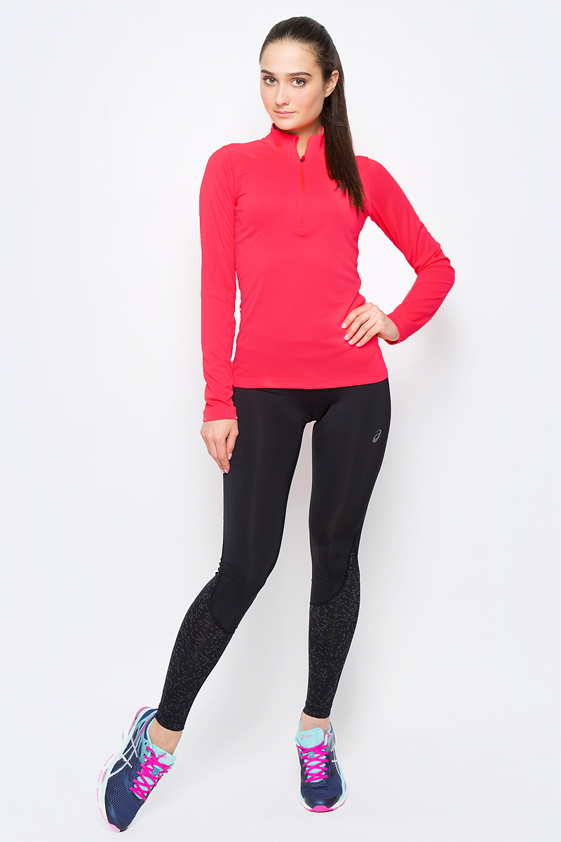 Лонгслив для бега женский  Asics LS 1/2 Zip Top, цвет: розовый. 134108-0688. Размер XS (40/42) nike лонгслив element 1 2 zip ls top yth