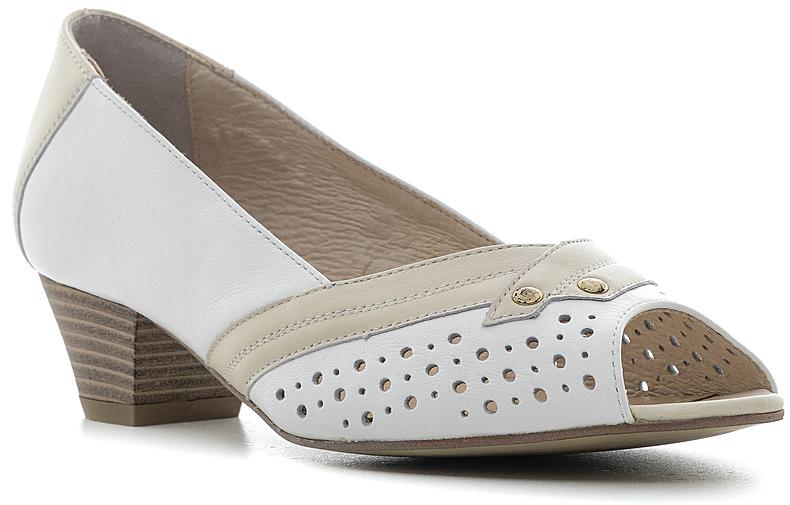 Туфли женские Marko, цвет: белый. 14983. Размер 4014983Элегантные туфли на невысоком каблуке с открытым мыском, выполненные из натуральной кожи, оформлены перфорацией. Внутренняя поверхность и стелька из натуральной кожи обеспечат комфорт при движении. Эти туфли можно сочетать с самыми разнообразными вещами вашего гардероба, в них вашим ногам будет комфортно и уютно.