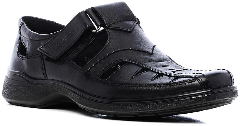 Сандалии мужские Marko, цвет: черный. 4445. Размер 424445Стильные мужские сандалии отлично дополнят ваш образ.Модель выполнена из высококачественной натуральной кожи. Хлястик с застежкой-липучкой, расположенный на подъеме, обеспечивает оптимальную посадку модели на ноге. Кожаная стелька с супинатором обеспечивает максимальный комфорт при движении. Подошва с рифлением обеспечивают отличное сцепление с поверхностью.