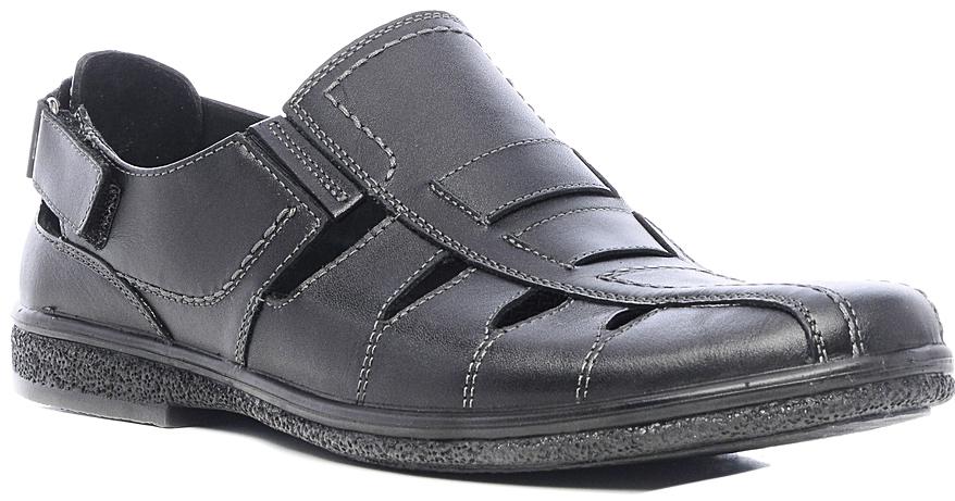 Сандалии мужские Marko, цвет: черный. 44105. Размер 4144105Стильные мужские сандалии отлично дополнят ваш образ.Модель выполнена из высококачественной натуральной кожи. Резинки, расположенные на подъеме, обеспечивают оптимальную посадку модели на ноге. Кожаная стелька с супинатором обеспечивает максимальный комфорт при движении. На заднике модель дополнена хлястиком на липучке. Подошва с рифлением обеспечивают отличное сцепление с поверхностью.
