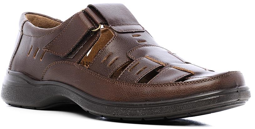 Сандалии мужские Marko, цвет: темно-коричневый. 4472. Размер 414472Стильные мужские сандалии отлично дополнят ваш образ.Модель выполнена из высококачественной натуральной кожи. Хлястик с застежкой-липучкой, расположенный на подъеме, обеспечивает оптимальную посадку модели на ноге. Кожаная стелька с супинатором обеспечивает максимальный комфорт при движении. Подошва с рифлением обеспечивают отличное сцепление с поверхностью.