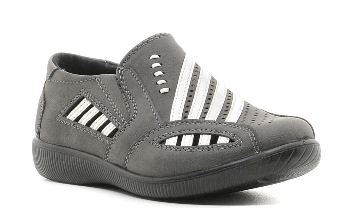 Туфли для мальчика San Marko, цвет: темно-серый. 5436. Размер 305436Модные туфли для мальчика выполнены из качественной синтетической кожи. Резинки, расположенные на подъеме, обеспечивают оптимальную посадку модели на ноге. Кожаная стелька с супинатором обеспечивает максимальный комфорт при движении. Подошва с рифлением обеспечивают отличное сцепление с поверхностью.