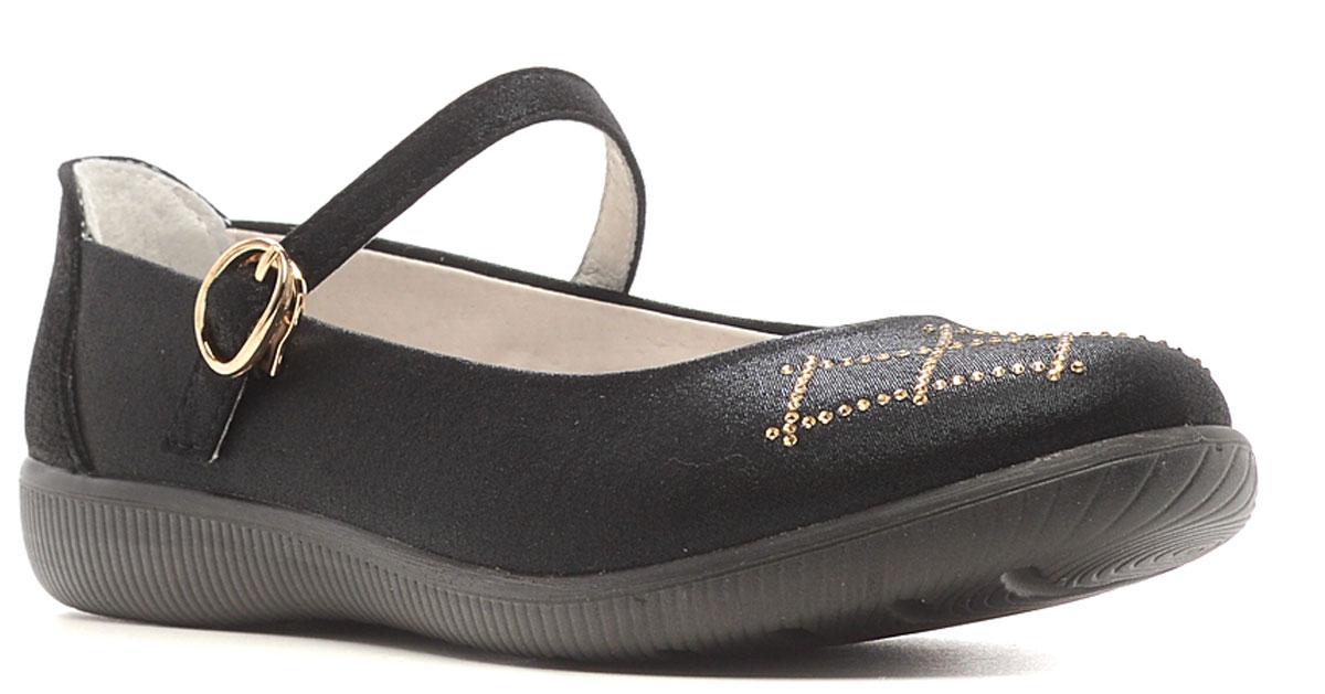 Туфли для девочки San Marko, цвет: черный. 63035. Размер 3563035Модные туфли обязательно придутся по вкусу вашей юной моднице.Модель выполнена из высококачественной искусственной кожи. Ремешок с металлической пряжкой овальной формы надежно зафиксирует обувь на ножке. Кожаная стелька с супинатором обеспечивает максимальный комфорт при движении. Подошва с рифлением обеспечивают отличное сцепление с поверхностью.