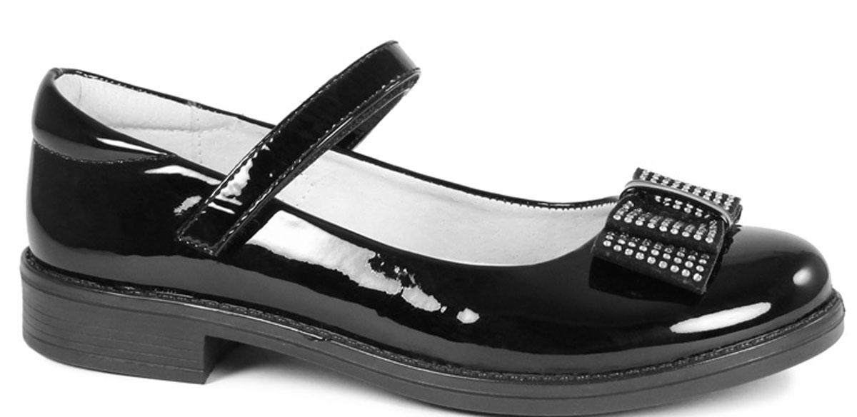 Туфли для девочки San Marko, цвет: черный. 53071. Размер 2953071Модные туфли обязательно придутся по вкусу вашей юной моднице.Модель выполнена из искусственной лаковой кожи. Хлястик с липучкой на подъеме обеспечит оптимальную посадку модели на ноге. Кожаная стелька с супинатором обеспечивает максимальный комфорт при движении. Подошва с рифлением обеспечивают отличное сцепление с поверхностью.