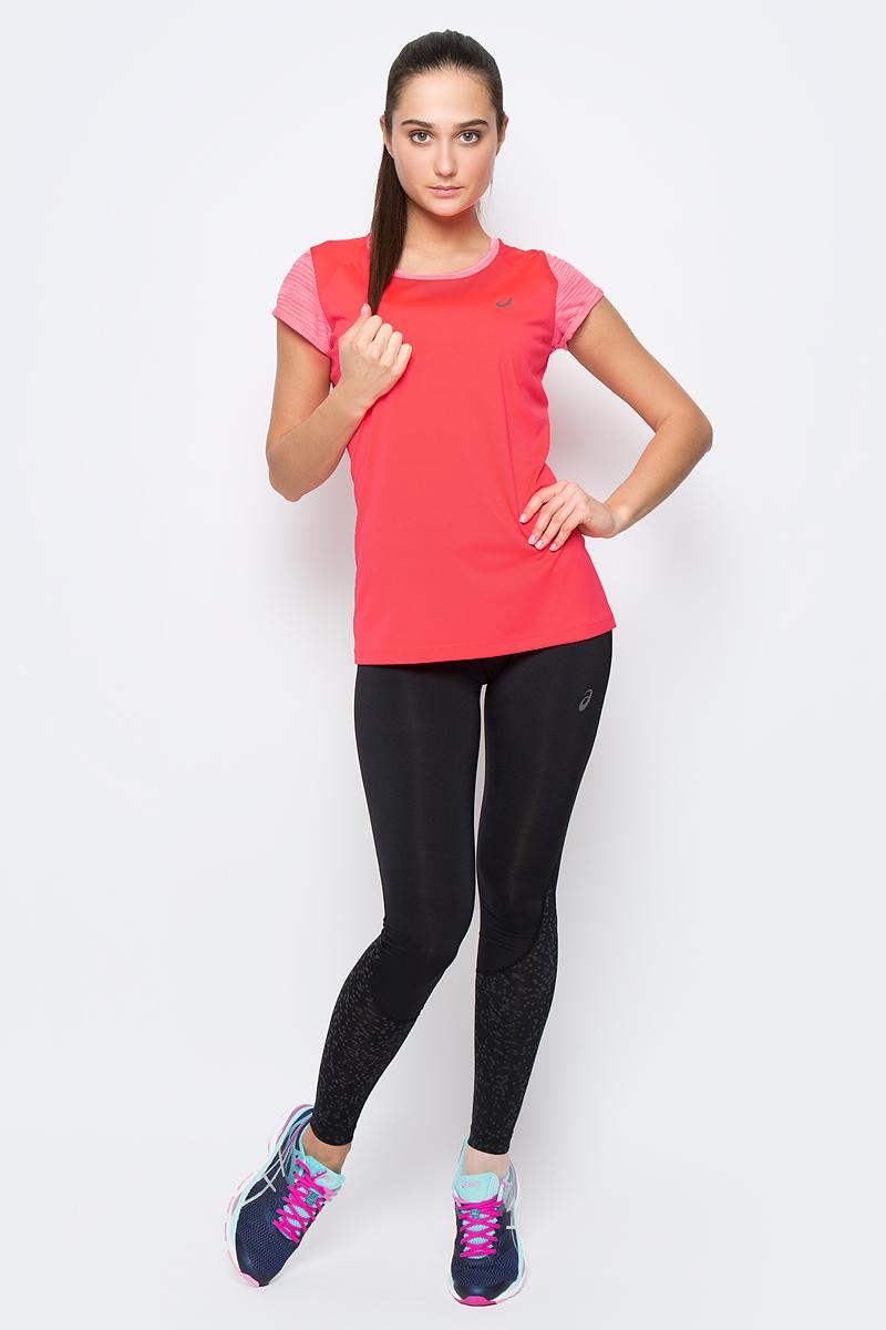 Футболка для бега женская Asics Fuzex SS Top, цвет: ярко-розовый. 141255-0688. Размер L (46/48)141255-0688Футболка для бега от Asics выполнена из эластичного полиэстера.У модели круглый ворот и короткие стандартные рукава. Изделие дополнено светоотражающими деталями. Технология Motion Cool охлаждает тело в процессе тренировки.