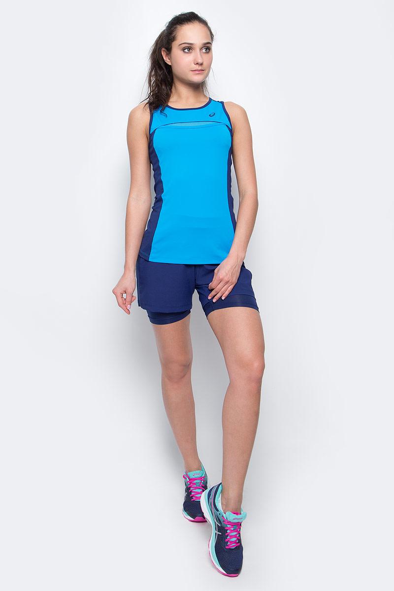 Майка для тенниса женская Asics Club Tank, цвет: голубой, темно-синий. 141154-8012. Размер L (46/48)141154-8012Майка для тенниса Asics Club Tank выполнены из полиэстера и спандекса. Модель со стандартной посадкой оформлена фирменной аппликацией и прострочкой.