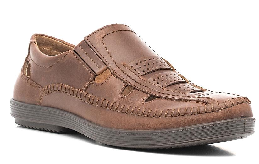 Сандалии мужские Marko, цвет: коричневый. 44102. Размер 4244102Стильные мужские сандалии отлично дополнят ваш образ.Модель выполнена из высококачественной натуральной кожи. Резинки, расположенные на подъеме, обеспечивают оптимальную посадку модели на ноге. Кожаная стелька с супинатором обеспечивает максимальный комфорт при движении. Подошва с рифлением обеспечивают отличное сцепление с поверхностью.