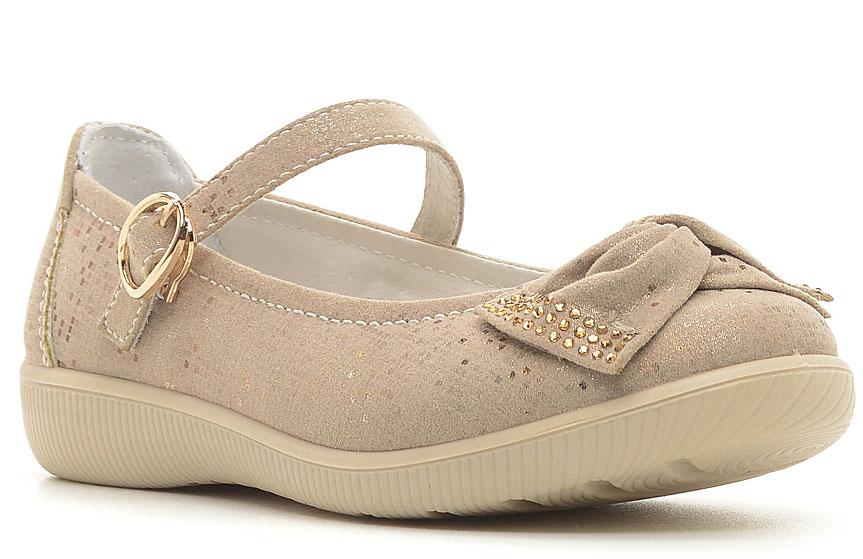 Туфли для девочки San Marko, цвет: бежевый. 63034. Размер 3563034Модные туфли для девочки выполнены из высококачественной искусственной кожи. Ремешок с застежкой-липучкой надежно зафиксирует обувь на ножке.Кожаная стелька с супинатором обеспечивает максимальный комфорт при движении. Подошва с рифлением обеспечивают отличное сцепление с поверхностью.
