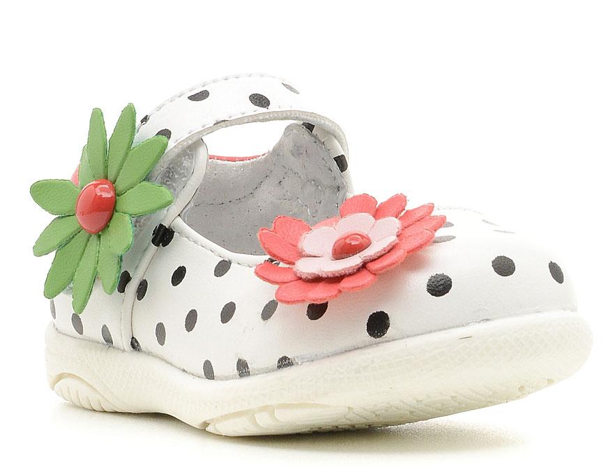 Туфли для девочки San Marko, цвет: белый. 033729. Размер 22033729Модные туфли обязательно придутся по вкусу вашей юной моднице.Модель выполнена из искусственной кожи. Хлястик с металлической пряжкой на подъеме обеспечит оптимальную посадку модели на ноге. Кожаная стелька с супинатором обеспечивает максимальный комфорт при движении. Подошва с рифлением обеспечивают отличное сцепление с поверхностью.