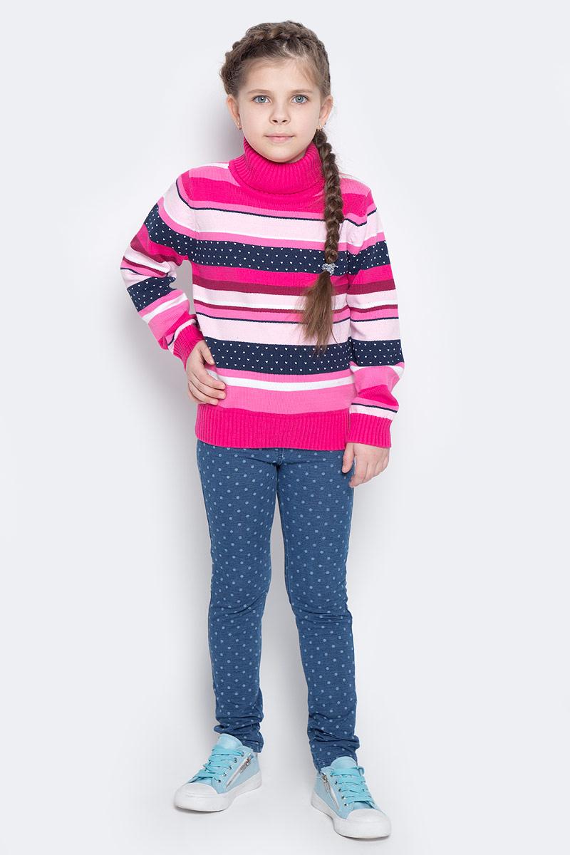 Свитер для девочки PlayToday, цвет: темно-синий, розовый, белый. 362106. Размер 98362106Теплый свитер из мягкого вязаного трикотажа с высоким воротничком, который надежно защитит от ветра, оформлен жаккардовым рисунком в полоску. Воротник, рукава и низ изделия выполнены из широкой вязаной резинки.