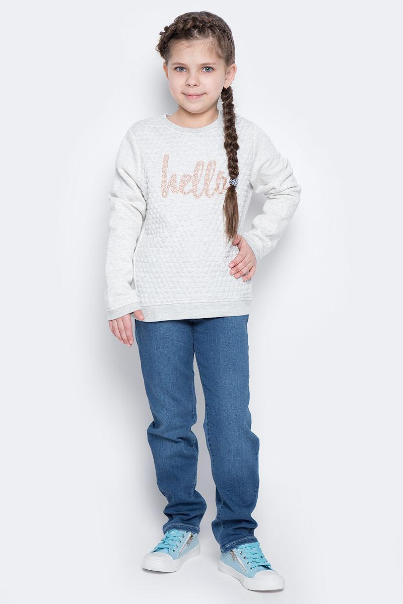 Лонгслив для девочки Tom Tailor, цвет: светло-серый меланж. 2530616.40.81_8440. Размер 128/1342530616.40.81_8440Лонгслив выполнен из высококачественного материала. Модель с длинными рукавами и круглым вырезом горловины оформлена надписью.