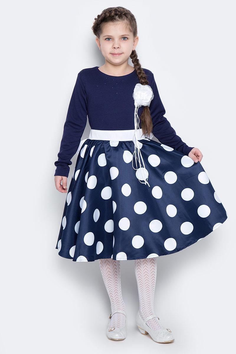 Платье для девочки PlayToday, цвет: темно-синий, белый. 462024. Размер 122462024Элегантное платье темно-синего цвета создано специально для настоящей принцессы! Модель с длинными рукавами и круглым вырезом горловины выполнена из комбинированного материала. Верх изготовлен из легкого смесового материала, пышная юбка - из полиэстера с сетчатой подкладкой для объема. Платье оформлено женственным принтом в крупный горох, объемным белым цветком и россыпью страз. Изделие застегивается на потайную молнию по спинке и дополнено широким поясом, завязывающимсябольшой бант.