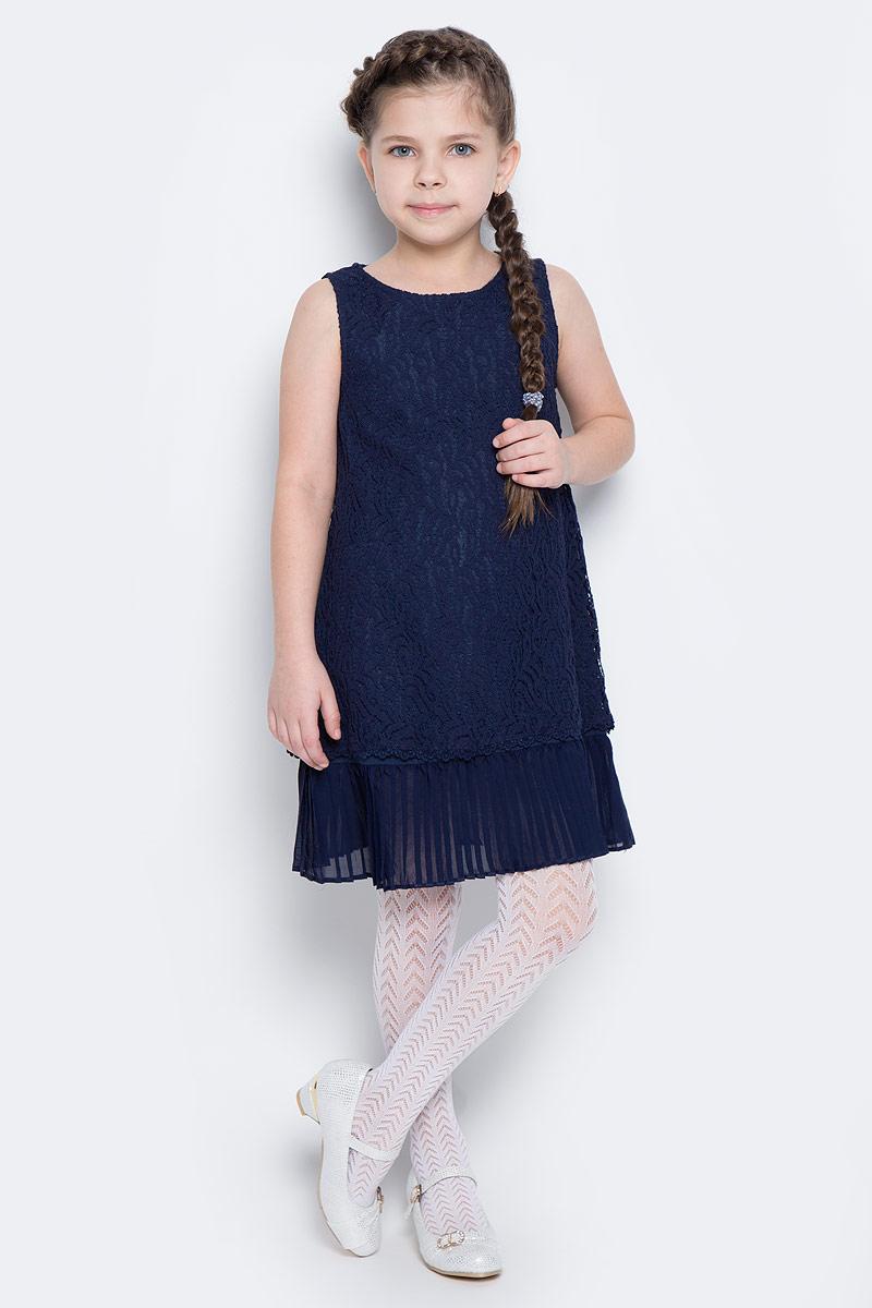 Платье для девочки PlayToday, цвет: темно-синий. 462022. Размер 128462022Элегантное платье белого цвета создано специально для настоящей принцессы! Верх изделия выполнен из нежного гипюра, мягкая хлопковая подкладка обеспечивает удобство. По низу платье дополнено плиссированной отделкой. Модель без рукавов с круглым вырезом горловины застегивается на потайную молнию по спинке.