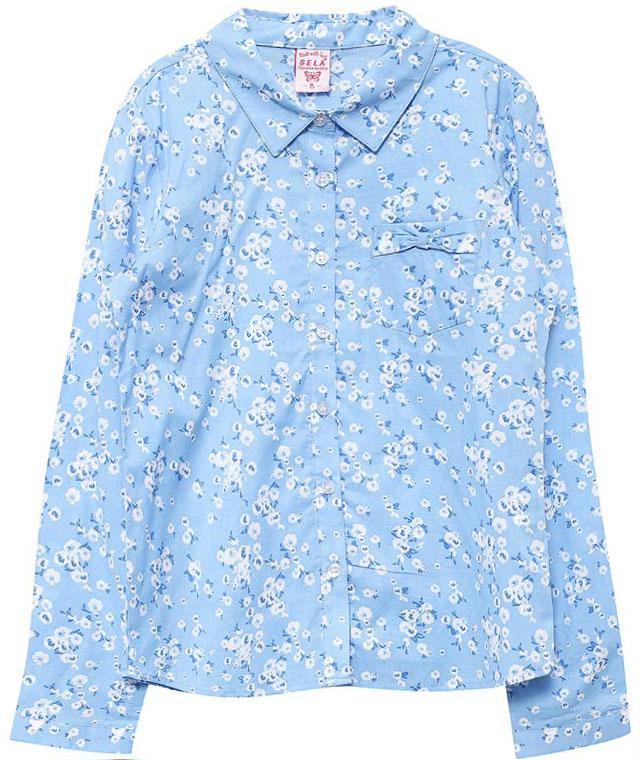 Блузка для девочки Sela, цвет: небесно-голубой. B-612/846-7151. Размер 146, 11 летB-612/846-7151Оригинальная блузка для девочки Sela выполнена из натурального хлопка и оформлена цветочным принтом. Модель прямого кроя с отложным воротничком застегивается на пуговицы и дополнена накладным карманом, оформленным бантиком. Манжеты длинных рукавов также дополнены пуговицами. Блузка подойдет для прогулок и дружеских встреч и будет отлично сочетаться с джинсами и брюками, и гармонично смотреться с юбками. Мягкая ткань комфортна и приятна на ощупь.