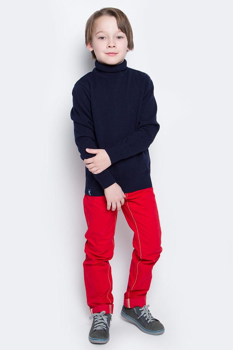 Свитер для мальчика PlayToday, цвет: темно-синий. 361155. Размер 128361155Уютный свитер из мягкого трикотажа мелкой вязки с высоким воротником, который надежно защитит от ветра. Универсальный цвет модели позволяет сочетать ее с любой одеждой. Рукава и низ изделия выполнены из широкой вязаной резинки.