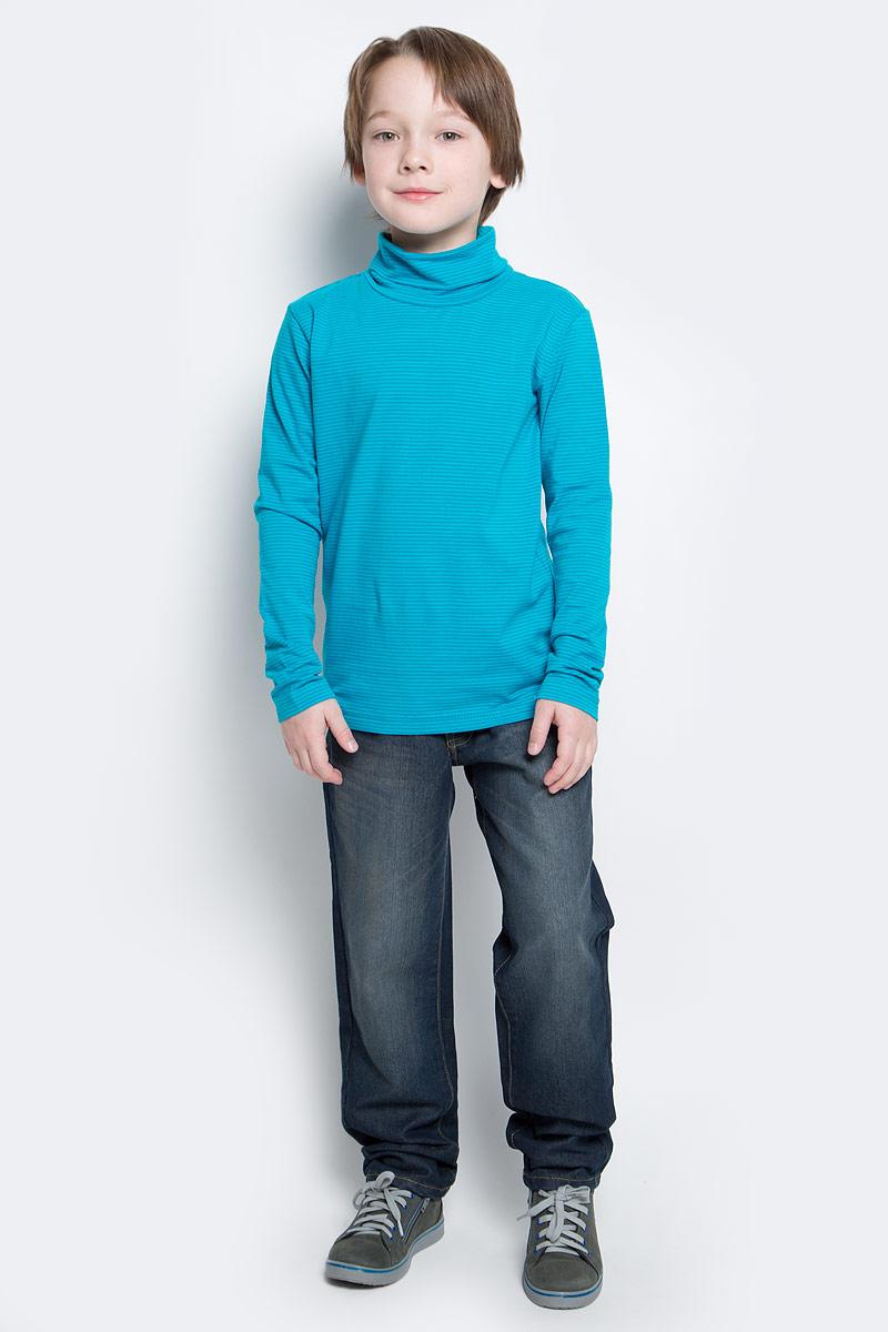 Водолазка для мальчика PlayToday, цвет: голубой, темно-голубой. 361123. Размер 128361123Мягкая водолазка для мальчика изготовлена из органического хлопка с добавлением эластана. Высокий воротник надежно защищает от ветра. Базовая конструкция и яркий цвет модели в мелкую полоску позволяют создавать стильные образы.