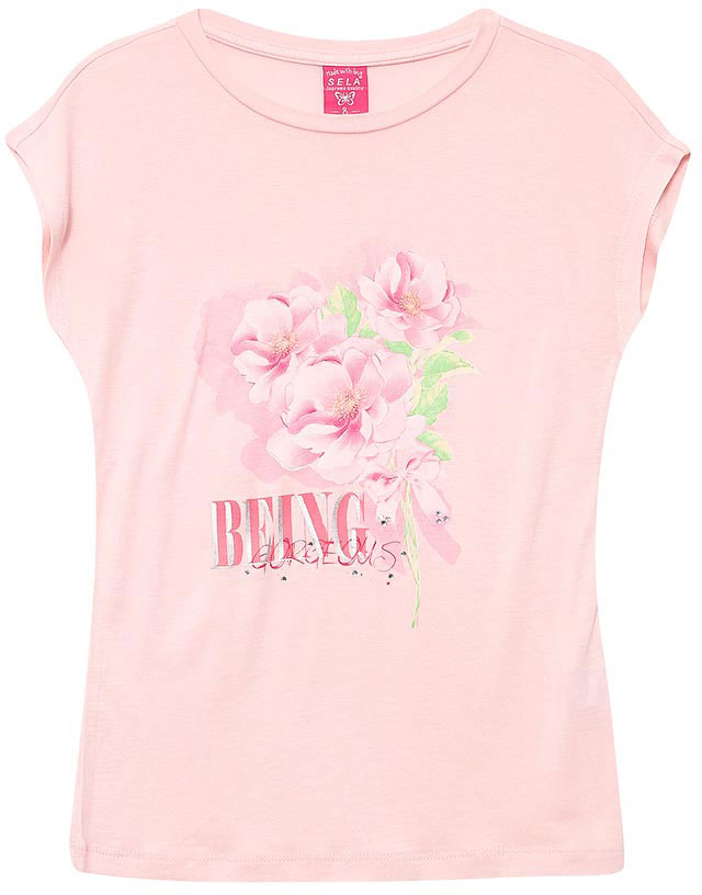 Футболка для девочки Sela, цвет: розовый. Ts-611/946-7131. Размер 152, 12 летTs-611/946-7131Стильная футболка для девочки Sela станет отличным дополнением к гардеробу юной модницы. Модель прямого кроя изготовлена из качественного трикотажа и оформлена оригинальным принтом и стразами. Воротник дополнен мягкой эластичной бейкой.