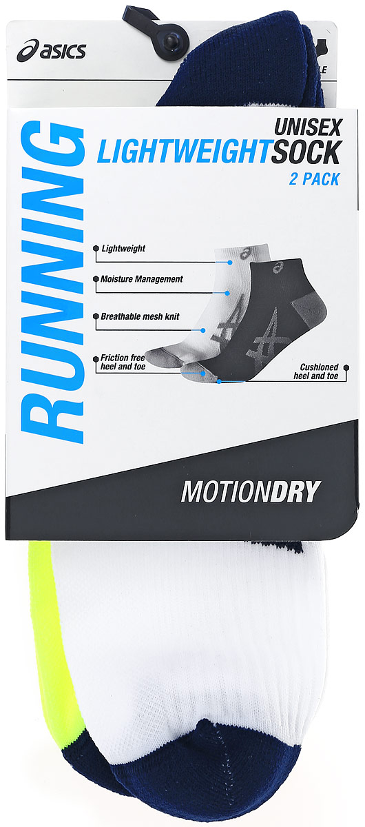 Носки Asics 2PPK Lightweight Sock, цвет: салатовый, белый, 2 пары. 130888-0392. Размер 43/46130888-0392Носки Asics 2PPK Lightweight Sock изготовлены из высококачественного эластичного полиамида. Укороченные носки имеют мягкую эластичную резинку, которая надежно фиксирует носки на ноге. Вентилирующие вставки в верхней части обеспечат необходимую циркуляцию воздуха, а амортизация в области пятки и пальцев смягчит шаг. Модель оформлена логотипом бренда Asics сбоку. В комплект входят 2 пары носков.