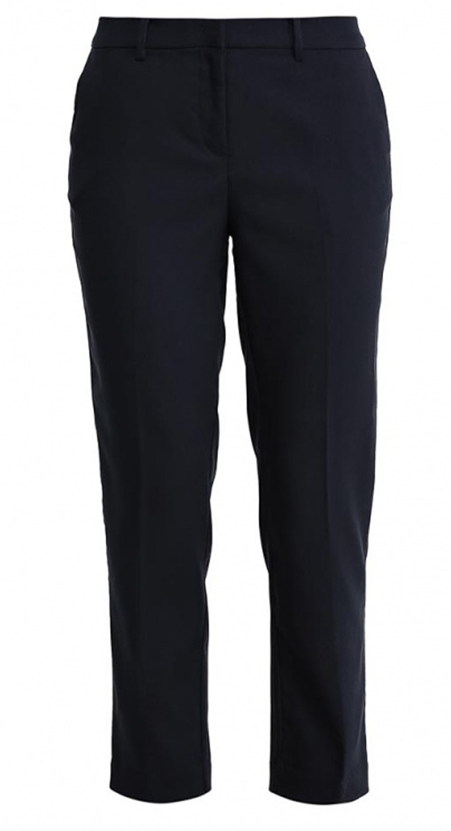 Брюки женские Sela, цвет: темно-синий. P-115/811-7131. Размер 46P-115/811-7131Стильные укороченные брюки Sela, изготовленные из качественного материала в классическом стиле, станут отличным дополнением вашего гардероба. Брюки зауженного к низу кроя и стандартной посадки на талии застегиваются на застежку-молнию и пуговицу. На поясе имеются шлевки для ремня. Модель дополнена двумя втачными карманами спереди и двумя прорезными карманами сзади.