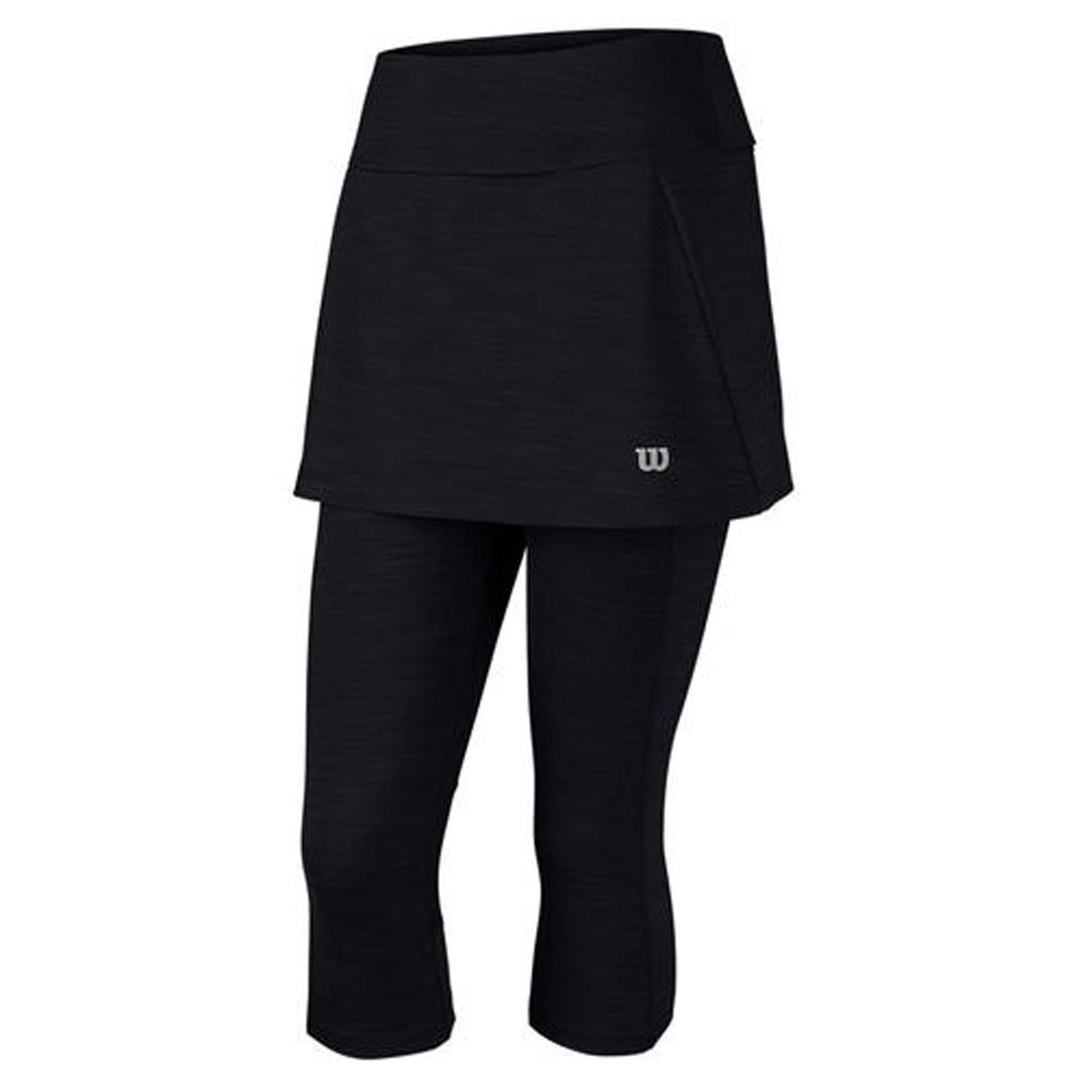 Тайтсы с юбкой для тенниса Wilson Rush Capri Skort, цвет: черный. WRA744701. Размер S (44)WRA744701Тайтсы с юбкой Wilson сочетают в себе стройнящий силуэт и максимальный функционал. Модель на широком эластичном поясе незаменима для разминок и тренировок в прохладных условиях.