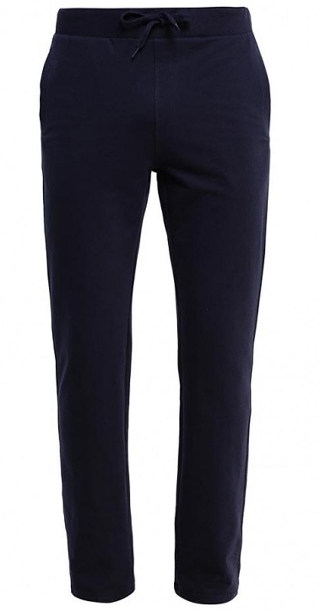 Брюки спортивные мужские Sela, цвет: черно-синий. Pk-215/053-7141. Размер S (46)Pk-215/053-7141Удобные спортивные брюки для мужчин Sela выполнены из качественного хлопкового материала и дополнены двумя прорезными карманами. Брюки прямого кроя и стандартной посадки на талии имеют широкий пояс на мягкой резинке, дополнительно регулируемый шнурком.