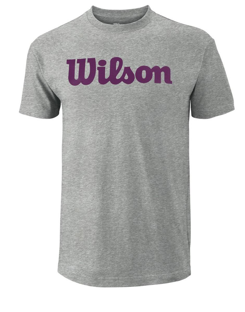 Футболка для тенниса мужская Wilson Script Cotton Tee, цвет: серый. WRA747801. Размер M (50)WRA747801Тренировочная футболка с логотипом Wilson. Спортивный крой для оптимального комфорта. Модель выполнена с круглой горловиной и короткими рукавами.