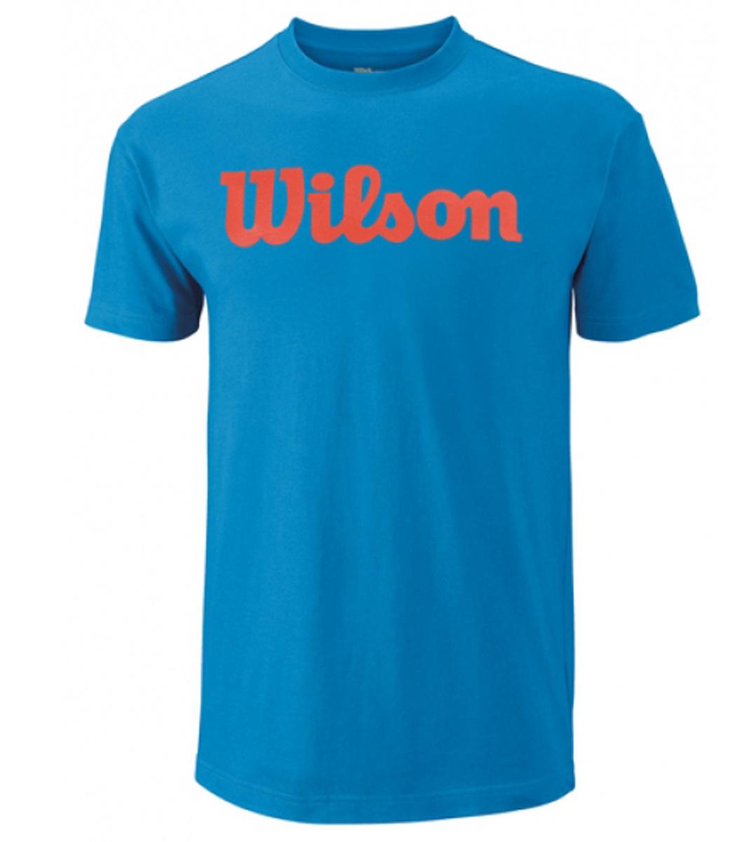Футболка для тенниса мужская Wilson Script Cotton Tee, цвет: голубой. WRA747803. Размер L (52)WRA747803Тренировочная футболка с логотипом Wilson. Спортивный крой для оптимального комфорта. Модель выполнена с круглой горловиной и короткими рукавами.