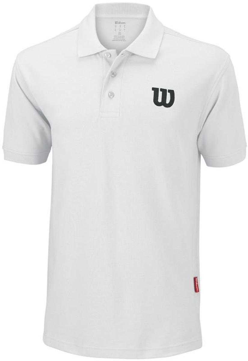 Поло для тенниса мужское Wilson Core Cotton W Polo, цвет: белый. WRA720607. Размер XXL (58)WRA720607Классическое теннисное поло Wilson на трех пуговицах выполнено из натурального хлопка. Модель с короткими рукавами и отложным воротником.