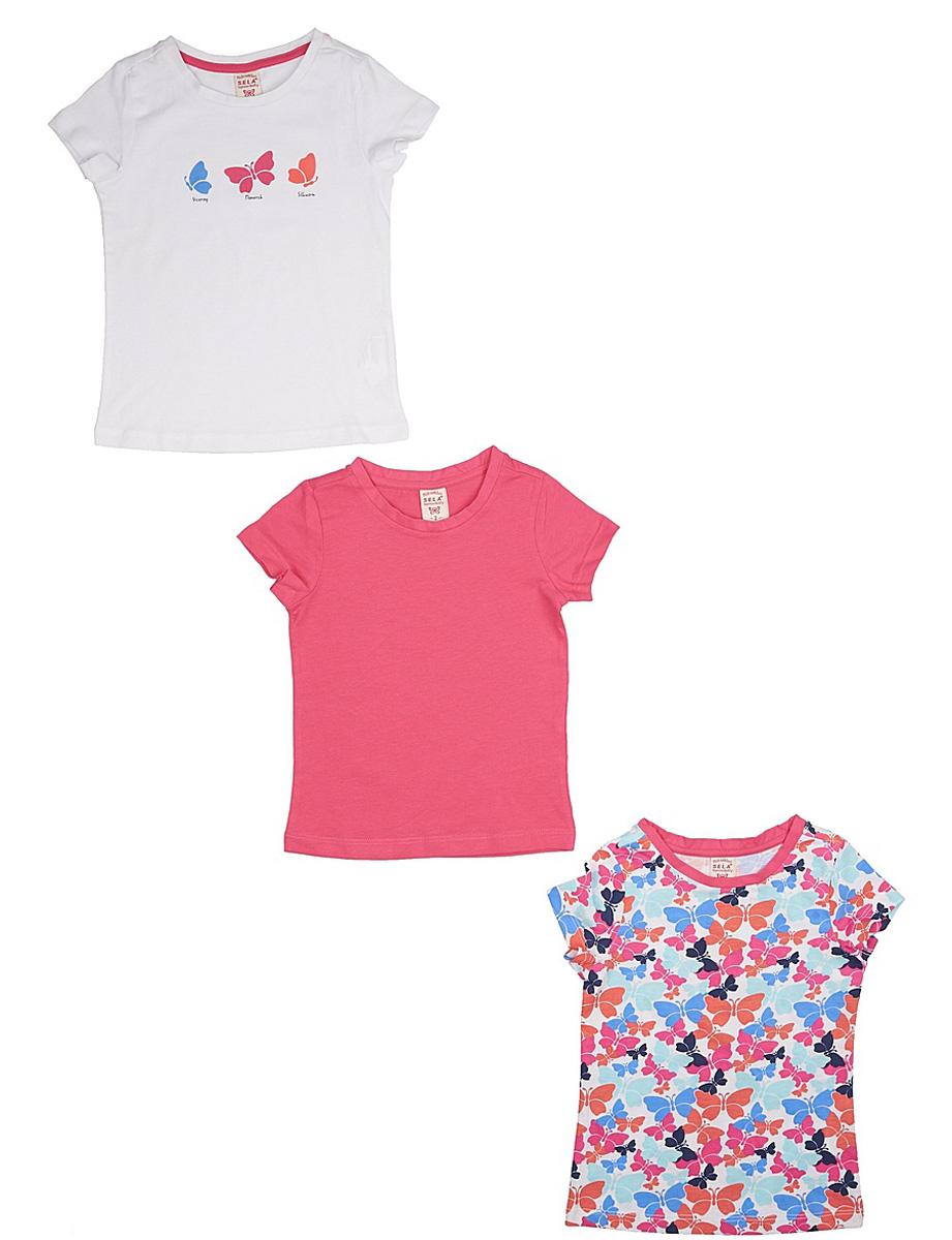Футболка для девочки Sela, цвет: белый, розовый, мультиколор, 3 шт. Ts-511/317-7142S-3set. Размер 98, 3 годаTs-511/317-7142S-3setКомплект Sela, состоящий из 3 ярких футболок для девочки, станет отличным дополнением к гардеробу юной модницы. Футболки прямого кроя изготовлены из натурального хлопка и оформлены оригинальным принтом. Воротник дополнен мягкой эластичной бейкой.
