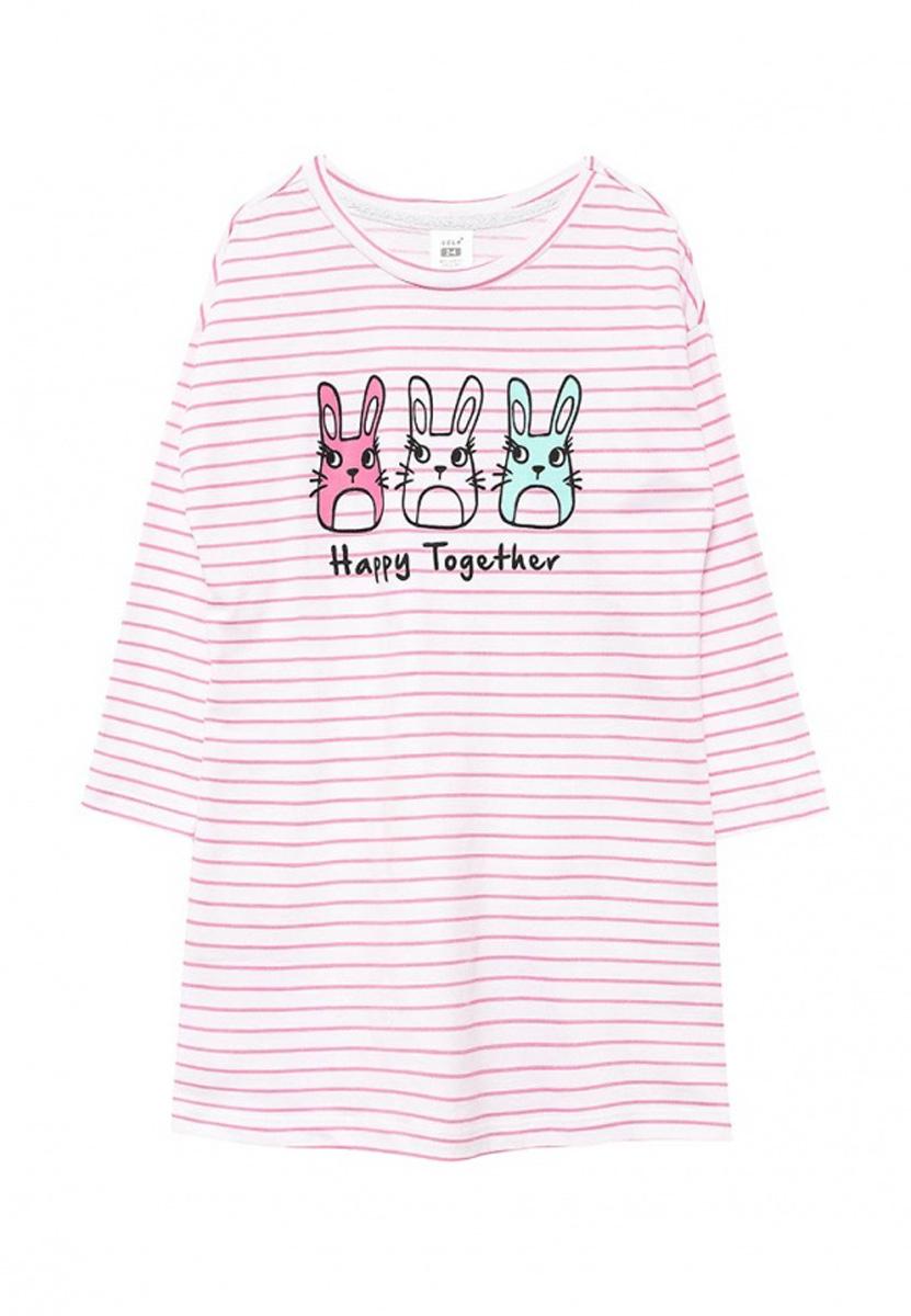 Ночная сорочка для девочки Sela, цвет: розовый. NDb-5661/006-7100. Размер 140/146, 10-12 летNDb-5661/006-7100Ночная сорочка для девочки Sela станет идеальным дополнением к детскому гардеробу. Модель прямого кроя с круглым вырезом горловины и спущенным плечом изготовлена из натурального хлопка и оформлена оригинальным принтом..В такой сорочке ваша маленькая принцесса будет чувствовать себя комфортно и уютно во время сна.